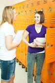 Teen Girls in School Hallway — Stock Photo