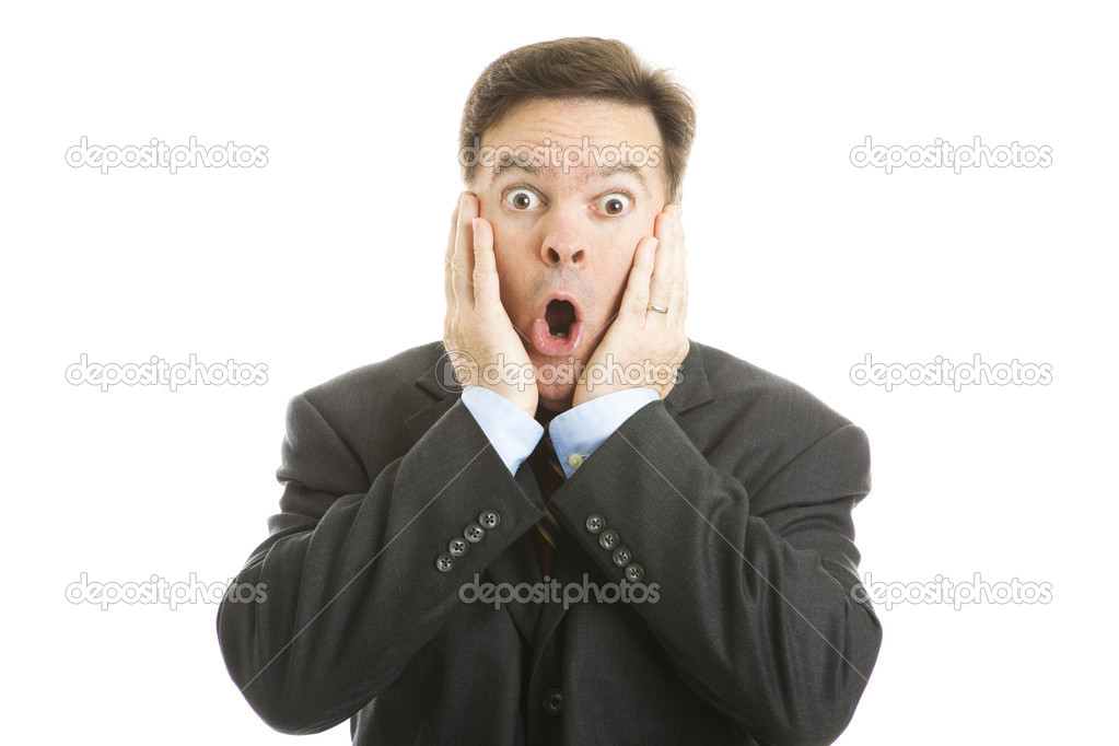 Shocked businessman isolated on a white background. — Stock Photo #7293518
