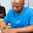 African American Student Taking Test — Stock Photo