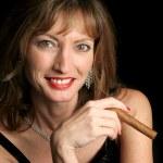 Beautiful Woman Enjoying Cigar — Stock Photo #7315047