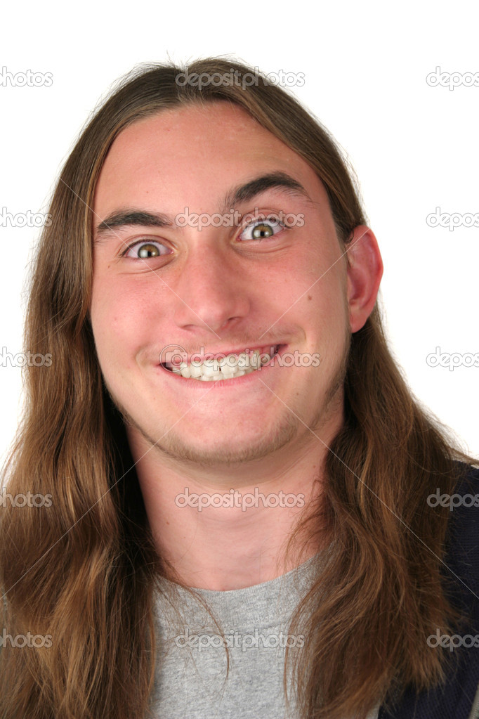 A young man making a goofy, cross-eyed face. Isolated — Stock Photo #7314969