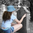 Stock Photo: Girl In Graveyard 1