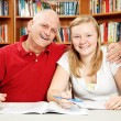 Studying with Dad — Stok fotoğraf
