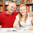 Studying with Dad — Stockfoto