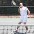 Retired Man Playing Tennis — Stock Photo