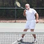Retired Man Playing Tennis — Stock Photo #7322092