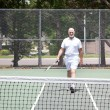 Senior Man on Tennis Court — Stock Photo