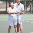 Tennis Lesson - Senior Woman — Stock Photo