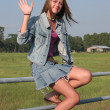 Stock Photo: Country Girl Waves