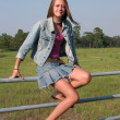 Stock Photo: Country Girl On Fence