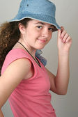 Stylish Girl Tips Hat — Foto Stock