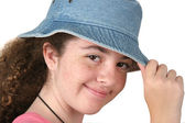Girl Tipping Hat — Stock Photo