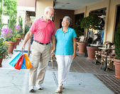Shopping Seniors - Carrying Her Bags — Stock Photo