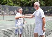 Senior Tennis Players Handshake — Stock Photo