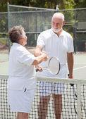 Tennis Seniors - Handshake — Stock Photo
