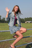Country Girl Waves — Stock Photo