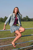 Country Girl On Fence — Stock Photo