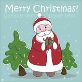 Vector card with cartoon Claus, gift and christmas trees — Vector de stock