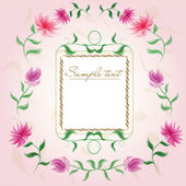 Vintage floral frame with cute chrysanthemums and leaves on pink background — Stock Vector