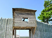 Old wooden fort with cannon — Stock Photo