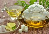 Set of green tea — Stock Photo