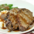 Meat loaf with mashed potatoes and green beans — Stock Photo