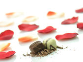 Chocolate candies and rose petals — Stock Photo