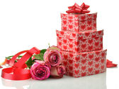 Gift boxes and roses — Foto de Stock