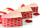 Rote geschenkboxen — Stockfoto
