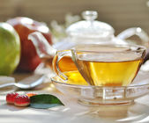 Morning green tea set — Stock Photo