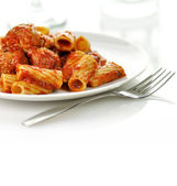 Rigatoni with tomato sauce and meatballs. — Stock Photo