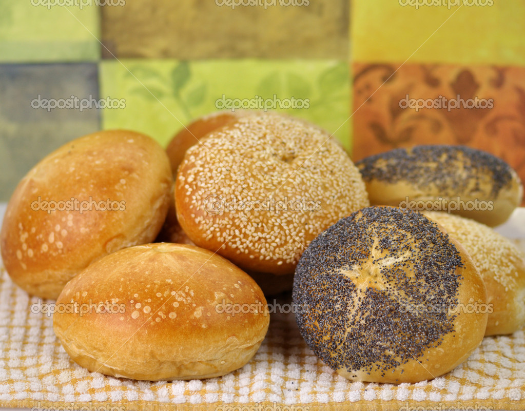 Fresh breakfast rolls assortment , close up shot  Stock Photo #6821720