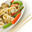 Dumplings with vegetables — Stock Photo