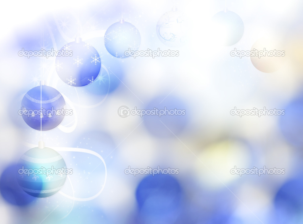 Abstract Winter Background with Christmas Decorations And Bokeh  Stock Photo #7889755