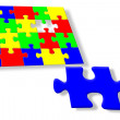 Colorful jigsaw puzzle - Stock Photo