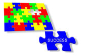 Colorful jigsaw puzzle Success — Stock Photo