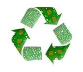 Recyklujte loga, elektronický odpad koncept — Stock fotografie