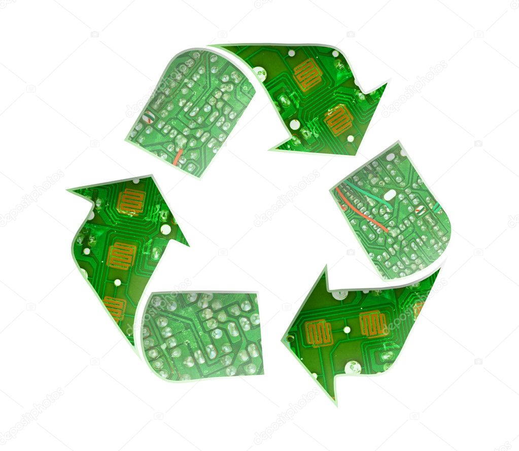 Recycle logo, Electronic waste concept  Stock Photo #6767585