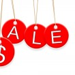 Colorful Sale tags hanging on white background — Stock Photo #7220090