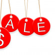 Colorful Sale tags hanging on white background — Stock Photo