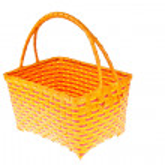 Wicker plastic basket isolated on white background — Stock Photo