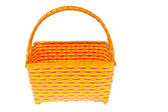 Wicker plastic basket isolated on white background — Stok fotoğraf