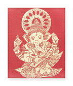 Ganesh, Hindu God on silk — Stock Photo