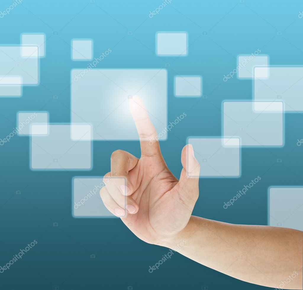 Hand pressing touchscreen button — Stock Photo #7220888