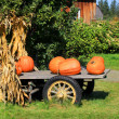 Stock Photo: Pumpkins in Wagon