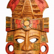 Hand carved wooden Mayan mask — Stock Photo