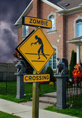 Zombie Crossing Sign — Stock Photo