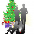 Royalty-Free Stock Vectorafbeeldingen: A family Christmas