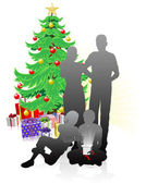 A family Christmas — Stock Vector