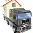 Stock Vector: Moving house truck concept